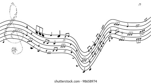 Music background with different notes on the white.vector illustration