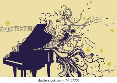 music background with a grand piano and fantasy plants and ears