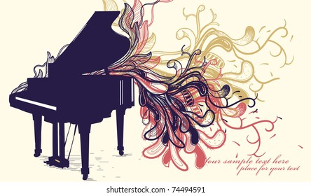 music background with a grand piano and rich colorful plants