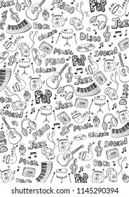 Music background with hand-draw doodle elements. Vector illustration