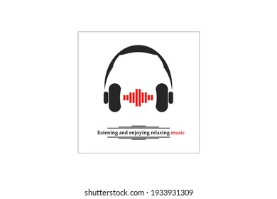 Music background with headphones and sound waves, can be used as a banner, flyer, poster, logo, icon or background.