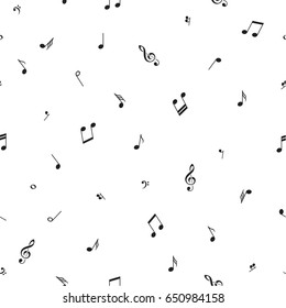 Music background with notes and symbols, black and white, seamless pattern