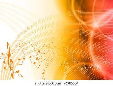 music background with orange notes