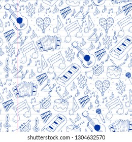 Music background for patterns. Vector illustration with musical instruments.