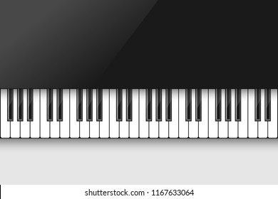 Music background with piano keyboard, poster design template.