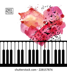 Music background, poster template. Keyboard with flying music notes like birds and watercolor heart. I love music concept. Vector design.