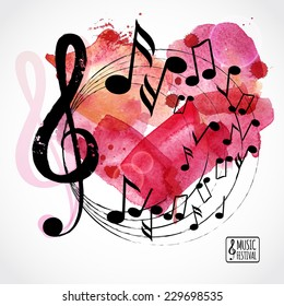 Music background, poster template. Watercolor heart with music notes. I love music card. Vector design.