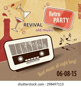 Music background in retro style - vintage party flyer with old radio and drinks