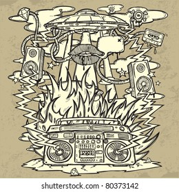 Music Background. Stylish grunge background on the music theme. The image consists of a UFO, a boom box, the flames, fire, explosion, loudspeakers. All pieces are on separate layers, easily editable