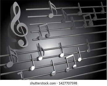 Music background vector design. Musical writing and melody.3d illustration of musical notes and musical signs of abstract music sheet.Songs concept