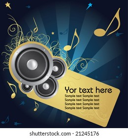 Music background whit golden flower and text frame