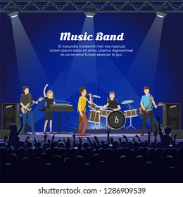 Music band concert of people playing on instruments vector. Drummer and electric guitar player, bass and piano accompaniment. Vocalist singing for crowd