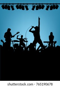 Music band and crowd silhouettes