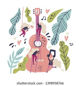 Music band flat hand drawn vector illustration. Tiny blonde musicians playing guitar cartoon characters. Musical instrument, plant leaves, female guitarists scandinavian style clipart. Music concert