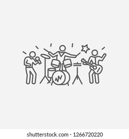 Music band icon line symbol. Isolated vector illustration of music band icon sign concept for your web site mobile app logo UI design.