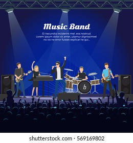 Music band on stage and many spectators underneath it. Singer, two guitar player, one drummer and pianist girl giving a concert huge auditorium. Vector illustration of musical group on stage.