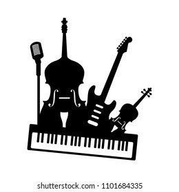 Music band orchestra icon. Set of black musical instruments electric guitar piano double bass violin microphone isolated on white background. Vector audio art illustration for concert festival party