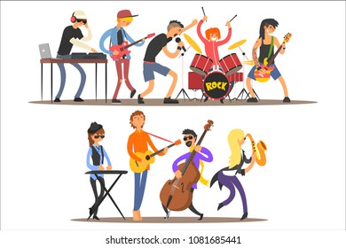 Music band performing on stage, musicians singing and playing music instruments cartoon vector Illustration on a white background
