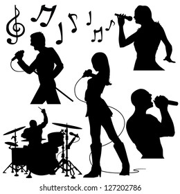 Music band performing in silhouettes
