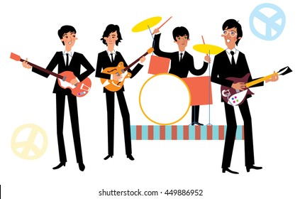 Music band playing concert. Beatles Vector illustration.