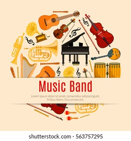 Music Band poster of vector musical instruments. Orchestra harp, contrabass, violin with bow and piano, saxophone and maracas, cymbals on ethnic drums, jazz trumpet, acoustic guitar, flute pipe