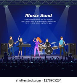 Music band singers and musicians with instruments vector. People playing on stage, vocalist and guitarist, drummer and bass player performing for fans