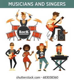 Music band singers, musicians and musical instruments vector flat icons