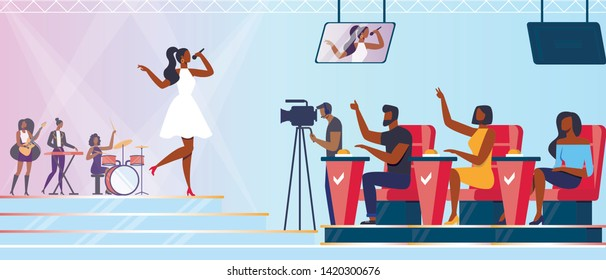 Music Band Take Part in Talents Show. Artists Characters Sing and Play Instruments on Stage in Front of Judges Put Huge Buttons on Desk. Young Girl Singing on Scene. Cartoon Flat Vector Illustration
