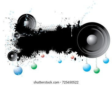 Music banner with speakers and christmas balls