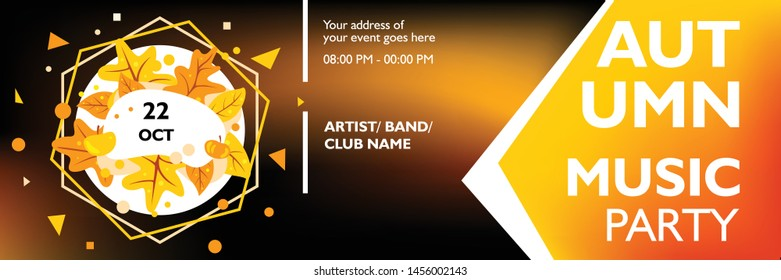 Music banner template for event, party, festival and concert. Layout poster design with maple leaves on dark background