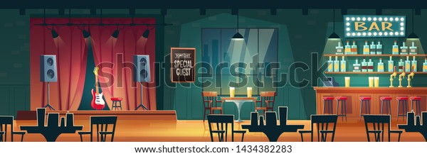 Music bar, beer pub with live performances cartoon vector interior. Bar counter desk, tables and chairs, guitar on stage illustration. Famous musician, special guest star evening concert in nightclub
