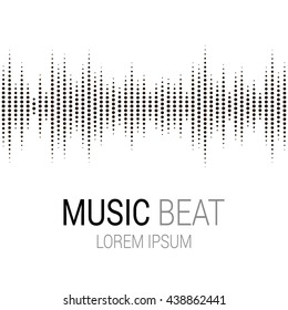Music beat. Abstract audio equalizer technology. Sound Wave. Isolated on white background. Space For Text. Vector illustration.