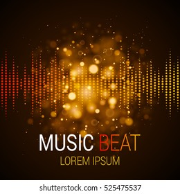 Music beat vector. Golden lights background. Abstract equalizer. Sound Wave. Audio equalizer technology. Detailed vector bokeh. Space For Text.