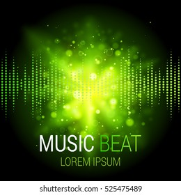 Music beat vector. Green lights background. Abstract equalizer. Sound Wave. Audio equalizer technology. Detailed vector bokeh. Space For Text.
