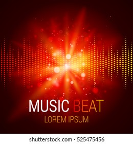 Music beat vector. Red lights background. Abstract equalizer. Sound Wave. Audio equalizer technology. Detailed vector bokeh. Space For Text.