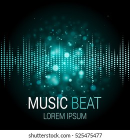 Music beat vector. Turquoise lights background. Abstract equalizer. Sound Wave. Audio equalizer technology. Detailed vector bokeh. Space For Text.