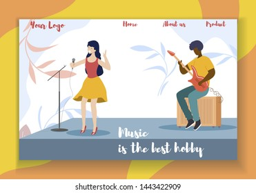 Music is the Best Hobby Horizontal Banner. Young Woman Singer Performing on Stage with Accompaniment of Man Playing on Guitar. Restaurant, Night Club Show Live Music. Cartoon Flat Vector Illustration