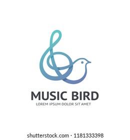 Music bird and treble clef vector icon.
