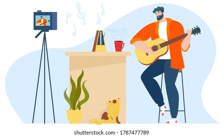 Music blog vector illustration. Cartoon flat creative musical blogger man character playing guitar, guitarist creating, recording video content on camera in modern room interior isolated on white