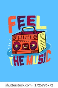 music boombox tape kids apparel graphic boys tees
