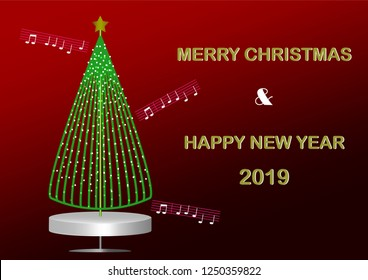 The music box Christmas pine tree decorating with light bulb; greeting card for Christmas and New Year 2019.