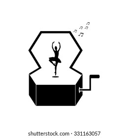Music Box with a Dancing Ballerina vector. Universal icon to use in web and mobile UI