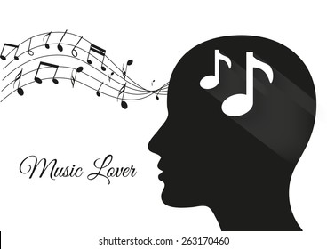 music from brain white background, music notes, music lover, music vector