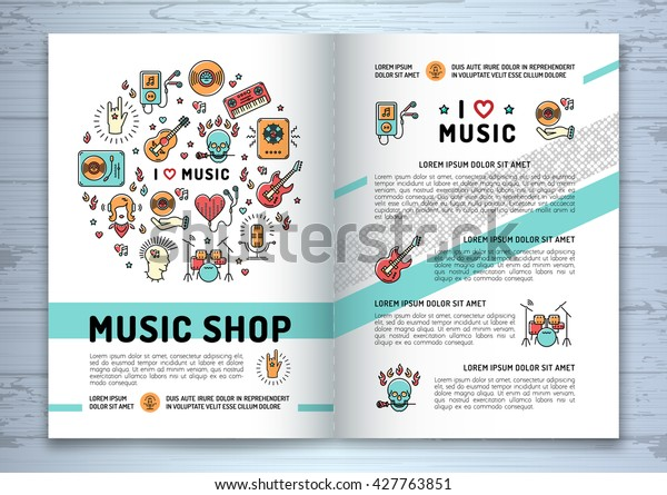 Music brochure template A4 size.