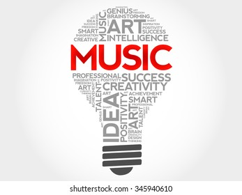 Music bulb word cloud concept