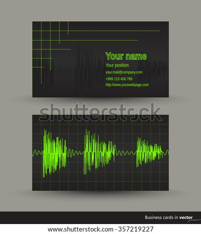 music business card with audio waveforms front and back side vector eps 10 - Music Business Cards