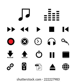 music button  icon set for media