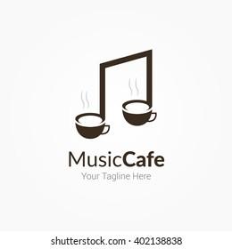 Music Cafe Coffee Logo Template Design