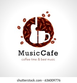 Music cafe logo, cup off coffee and guitar. Vector design brand sign for coffee shops and rock bars