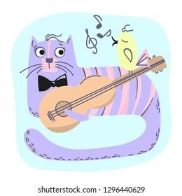 MUSIC CAT Comic Animal Cartoon Vector Illustration Set for Print, Fabric and Decoration.